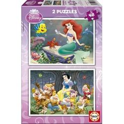 Educa - 14180 - Puzzle Bois Wd 2X16 Blanche Neige & La Petite Sirene