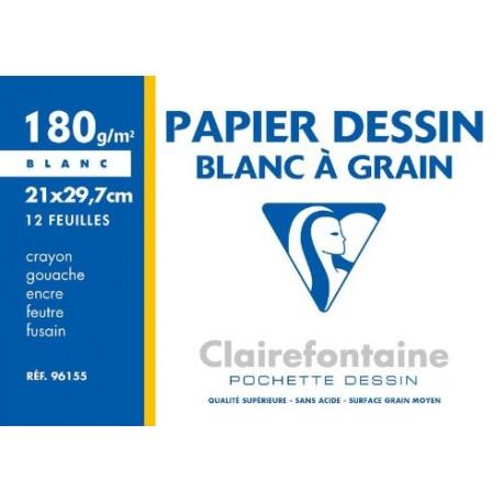 PAPIER DESSIN BLANC A GRAIN 180G 96155