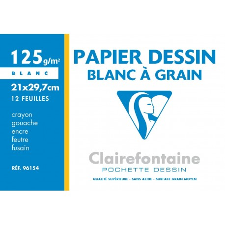 Papier dessin blanc à grain 125G/M