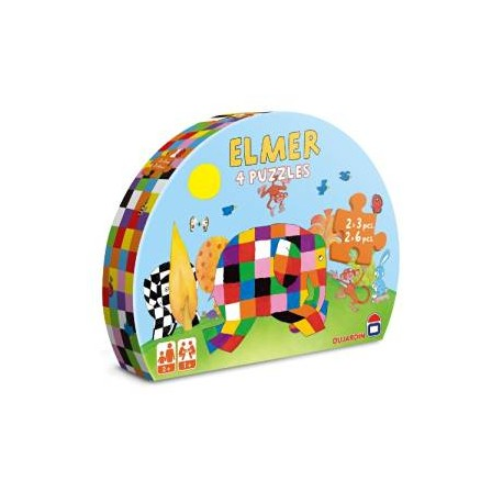 ELMER 4 PUZZLES 3/6 PIECES