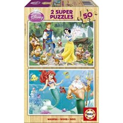 Educa - 15592 - Puzzle en Bois - Blanche-Neige + Ariel - 2x50 Pièces