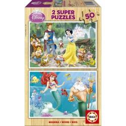 Educa - 15591 - Puzzle en Bois - Cendrillon + Blanche-Neige - 2x25 Pièces