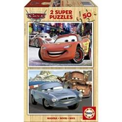 Educa - 14936 - Puzzle en Bois - Cars 2 - 2x50 Piècesz