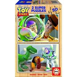 Educa - 14365 - Puzzle - 2 x 50 pièces en bois - Toy Story - Buzz l'éclair et ses amis