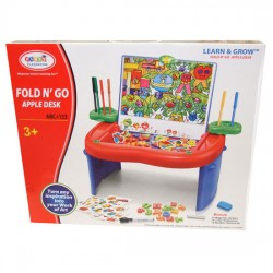 First Classroom Fold N' Go Apple Learning Drawing Desk With Alphabet & Numbers 3+