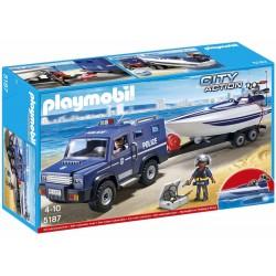 Playmobil - 5187 - Figurine - Fourgon Et Vedette De Police