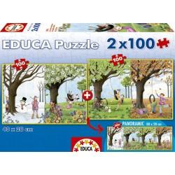 Educa - 15911 - Puzzle Classique - Les Quatre Saisons - 2 X 100 Pièces