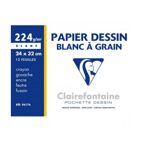 POCHETTE DESSIN GRAIN A4 12 FEUILLES